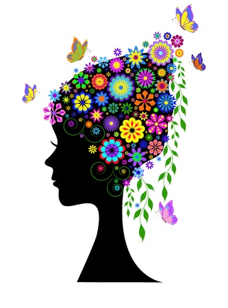 Illustration of silhouette of  girl  with flowers hair  Vector