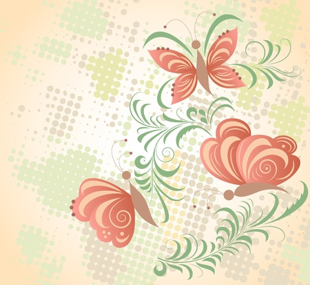 Illustration of abstract butterflies and plant Stock Vector - 11571501