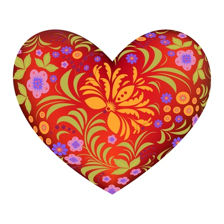 lilac background: Illustration of red heart with abstract floral pattern