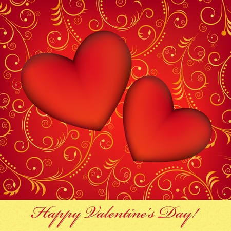 Valentine`s card with two red hearts Vector