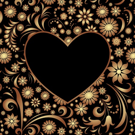 black swirls: Illustration of  heart with abstract floral pattern