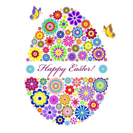 Ilustración de colorido huevo de Pascua aislados en blanco Ilustración de vector