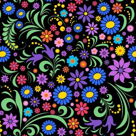orange flower: Illustration of  colorful flower on black background.