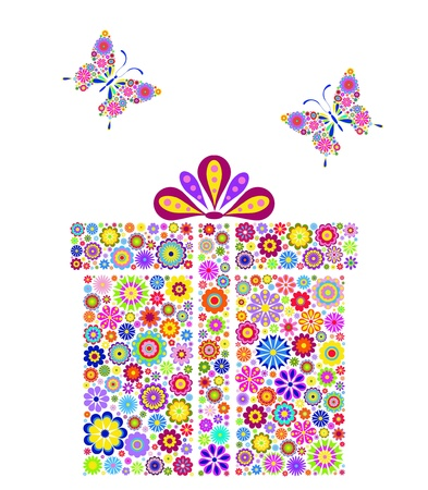 butterfly flower: Illustration of colorful gift box on black background