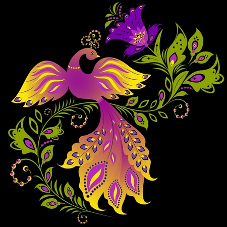 Illustration of  colorful bird and abstract plant on black background