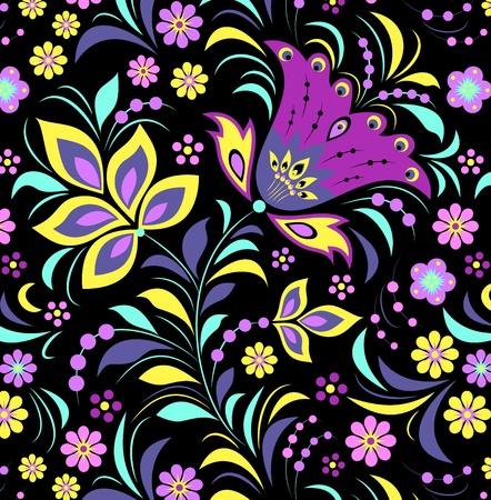 Illustration von bunten Blumen auf schwarzem Hintergrund.
