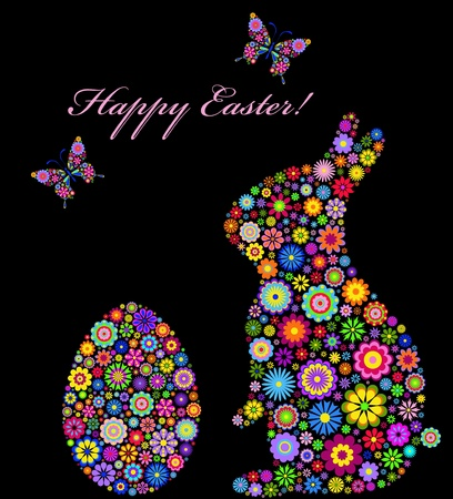 butterfly rabbit: Illustration of  colorful easter card  Illustration