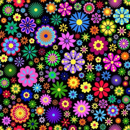 Illustrazione di fiori colorati su sfondo nero.
