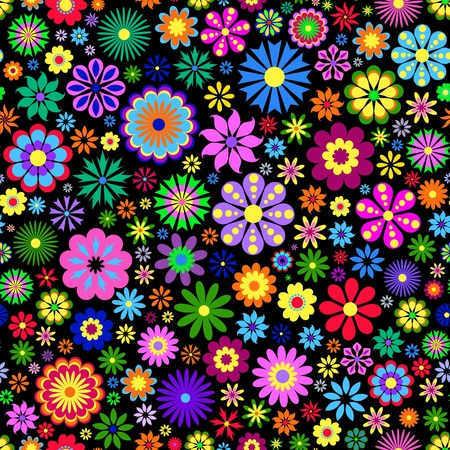 floral backgrounds: Illustration of  colorful flower on black background.
