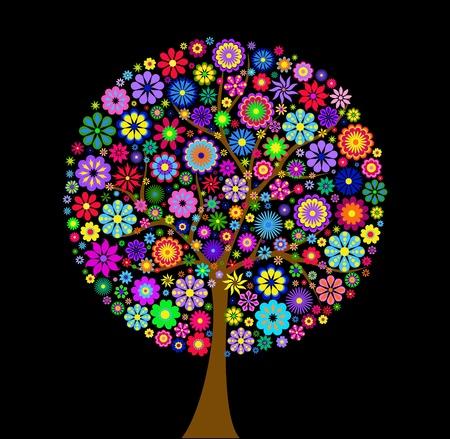 Ilustración del árbol de flores de colores sobre fondo negro