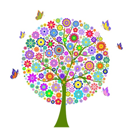Illustration of  colorful flower tree isolated on white background