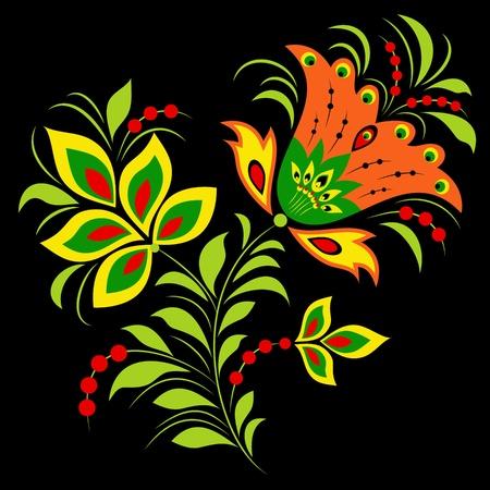 hohloma: Illustration of  colorful flower on black background.