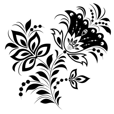 design elements: Illustration of abstract flower isolated on white background.