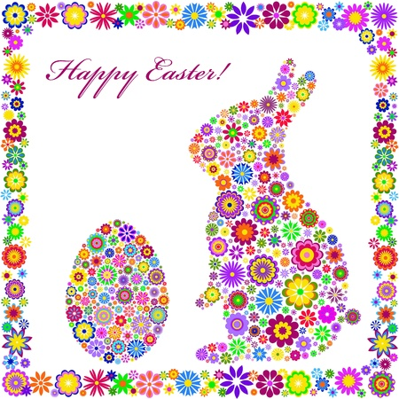 Illustration of  colorful easter card on white background  Vector