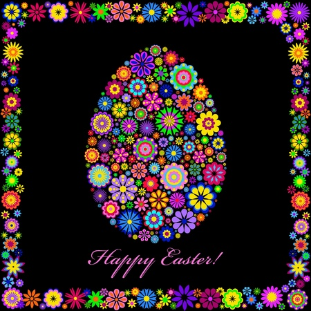 bright card: Illustration of  colorful easter egg on black background