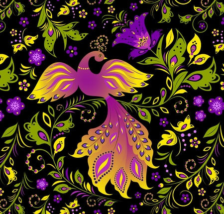 Illustration of  colorful bird and abstract plant Vector