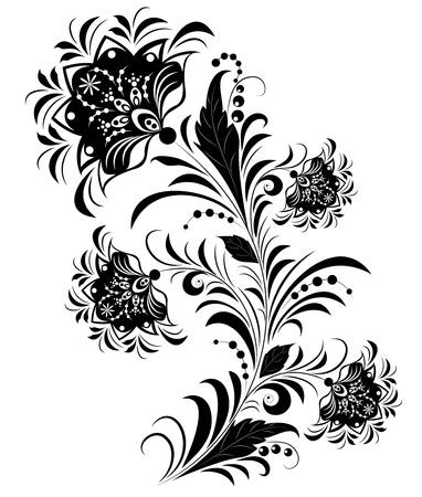 leafs: Illustrazione di fiori in bianco e nero isolato su bianco