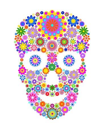 skull and flowers: Ilustraci�n del cr�neo de flores aisladas sobre fondo negro