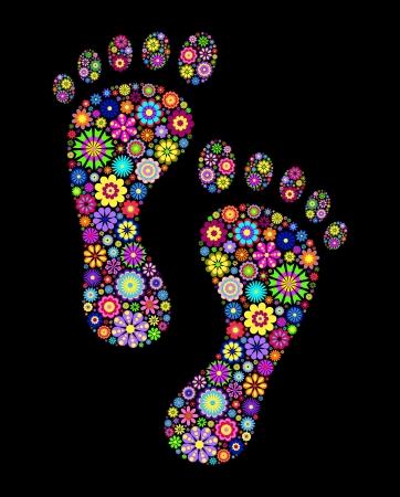 Illustratie van kleurrijke voetafdrukken op zwarte achtergrond