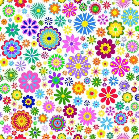 Illustration von bunten Blumen auf weißem Hintergrund Vektorgrafik