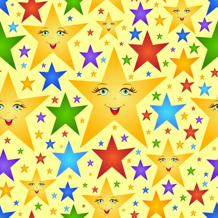 Illustration of colored  abstract stars Seamless background  Vector