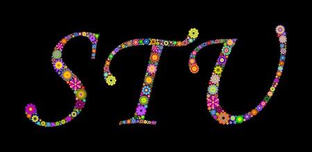 Illustration of letters on black background   Stock Vector - 12492869