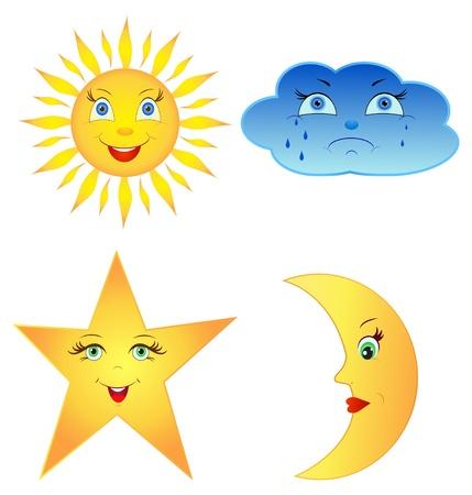 sol y luna: Ilustración del sol cómica, la luna, nubes y estrellas, aislado en blanco bacjkround
