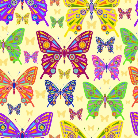 butterflies and flowers: Illustration of abstract batterflies on yellow background
