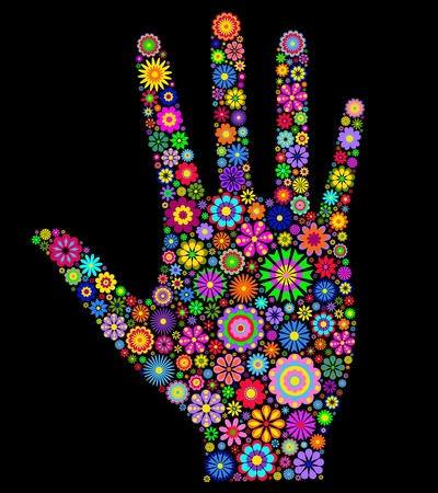 Illustration de la paume humaine colorée sur fond noir Vecteurs
