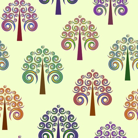 Illustration of seamless of abstract trees on pastel background Vector