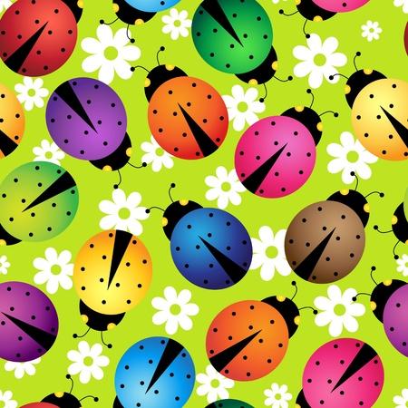 mariquitas: Ilustración de fondo sin fisuras con los escarabajos abstractos