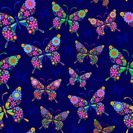 Illustration de papillons seamless sur fond bleu