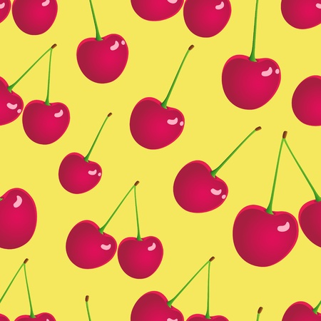Illustration of seamless cherry background.  Vector