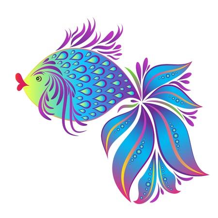 cangrejo: Ilustración abstracta de los peces aislados en fondo blanco Vectores