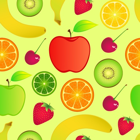 Illustration of seamless fruits background Vector