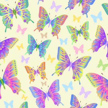 Illustration of seamless butterflies pattern on pastel background  Vector