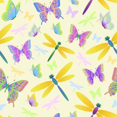 mariposas amarillas: Ilustración del patrón sin fisuras con las mariposas y las libélulas Vectores