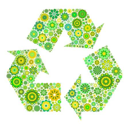 conciencia ambiental: S�mbolo de reciclaje de flores aisladas sobre fondo blanco