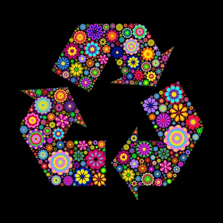 Flowery recycling symbol or logo on black  background  Stock Vector - 13172255