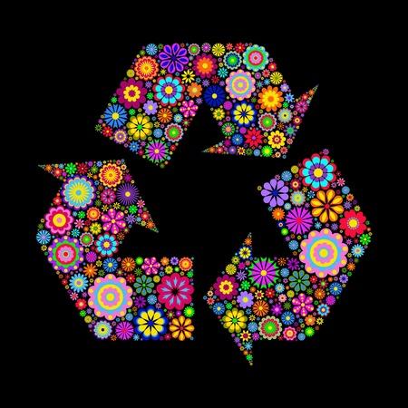 logo recyclage: Symbole de recyclage fleuri ou logo sur fond noir