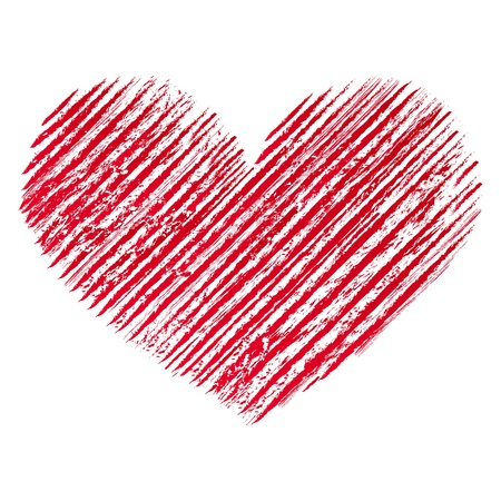 grunge heart: Illustration of red  abstract grunge heart