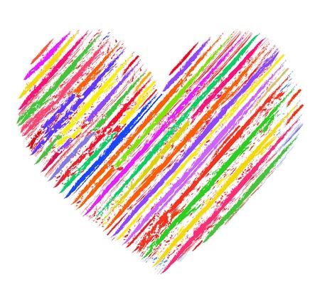 愛の色。白地にカラフルな抽象的な中心のイラスト