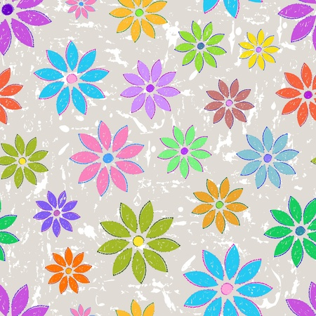 Illustration of seamless with colorful flowers on grunge background Vector