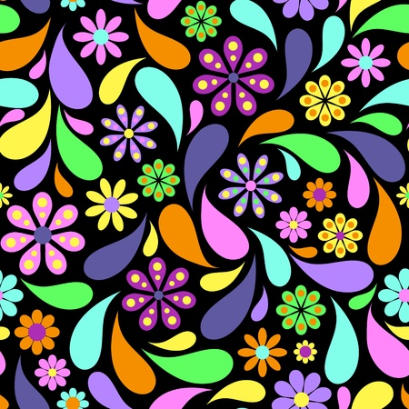 retro design: Illustration of colorful flower on black background. Illustration