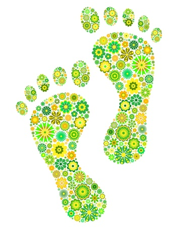 Illustration of green footprints on white background Stock Vector - 13546464