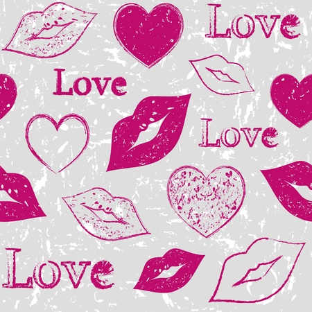 lips kiss: Illustration of seamless with abstract hearts and lips on grunge background Illustration