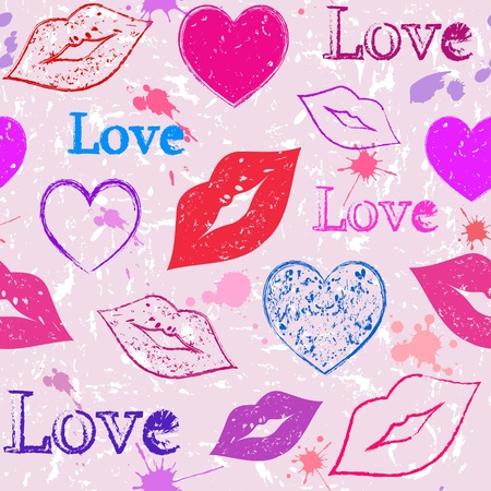 red lips: Illustration of seamless with abstract grunge hearts and lips Illustration