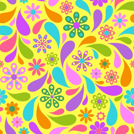 fabric design: Illustration of colorful flower on yellow background