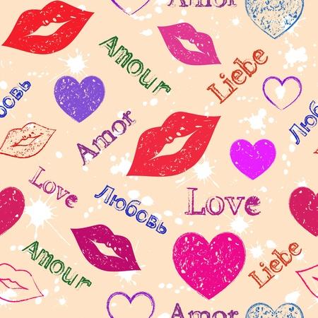 beso labios: Ilustración de tubos sin costura con corazones grunge y los labios