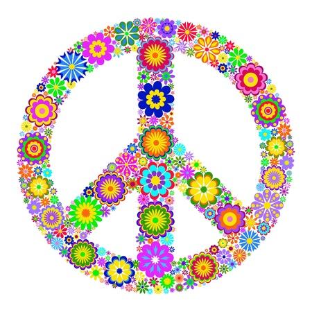 symbol peace: Ilustraci�n de colorido s�mbolo del Pac�fico en el fondo blanco